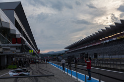 Quiet pit lane at Fuji Speedway