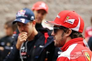 Sebastian Vettel, Red Bull Racing with Fernando Alonso, Ferrari