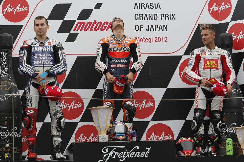 Podium: winner Dani Pedrosa, Repsol Honda Team, second place Jorge Lorenzo, Yamaha Factory Racing, third place Alvaro Bautista, Honda Gresini