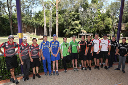 Regular drivers are joined by international drivers during a visit to Dreamworld
