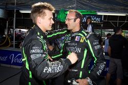 GT pole winner Guy Cosmo celebrates with Toni Vilander