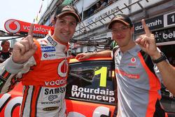 Polepositie Jamie Whincup en Sébastien Bourdais, Team Vodafone