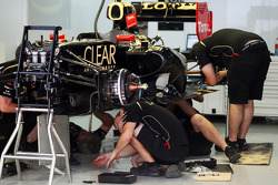 Lotus F1 E20 is prepared in the pits