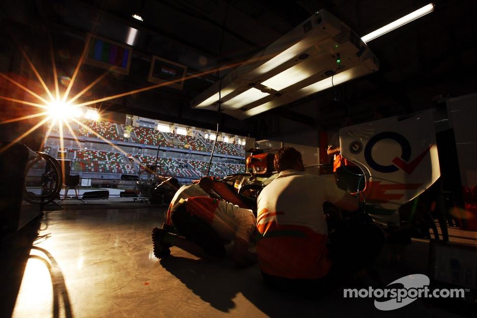 Sun sets in the Sahara Force India F1 Team garage