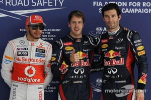 Pole position for Sebastian Vettel, Red Bull Racing, 2nd for Mark Webber, Red Bull Racing and 3rd for Lewis Hamilton, McLaren Mercedes