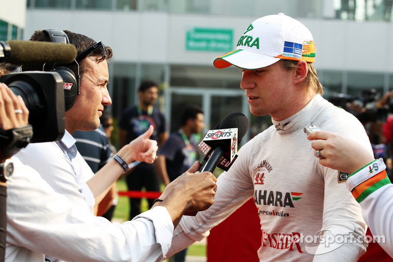 Nico Hulkenberg, Sahara Force India F1 with Will Buxton, Speed TV Presenter