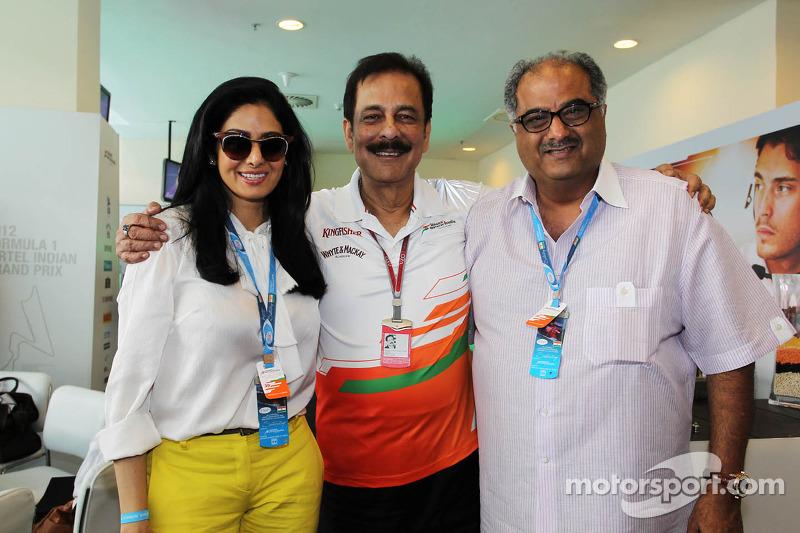 Sridevi, Actress, and Boney Kappor, Film Producer, with Subrata Roy Sahara, Sahara Chairman, at the Sahara Force India F1 Team Paddock Club
