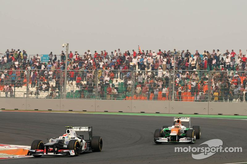 Sergio Pérez, Sauber F1 Team y Nico Hulkenberg, Sahara Force India Formula One Team