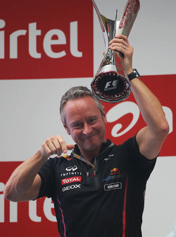 Jonathan Wheatley, Red Bull Racing Team Manager celebrates on the podium