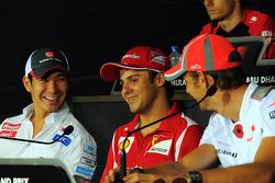 The FIA Press Conference, Kamui Kobayashi, Sauber; Felipe Massa, Ferrari; Jenson Button, McLaren