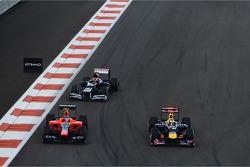 Sebastian Vettel, Red Bull Racing passes Charles Pic, Marussia F1 Team