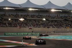 Pastor Maldonado, Williams leads Fernando Alonso, Ferrari and Mark Webber, Red Bull Racing