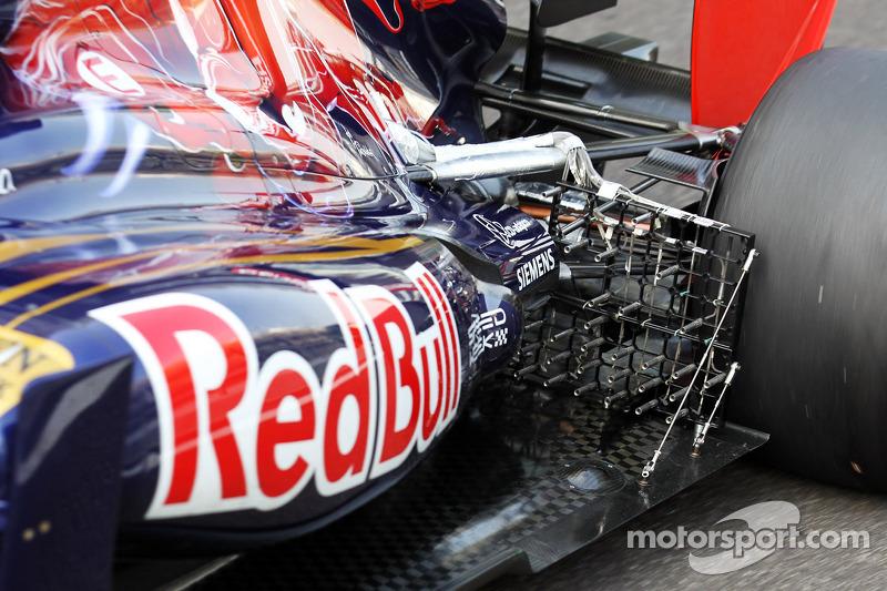 Scuderia Toro Rosso met sensoren op ophanging en uitlaat