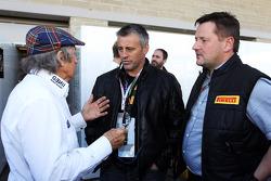 Matt LeBlanc, Actor with Jackie Stewart, and Paul Hembery, Pirelli Motorsport Director