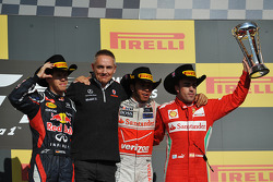 Podium: race winner Lewis Hamilton, McLaren Mercedes, second place Sebastian Vettel, Red Bull Racing, third place Fernando Alonso, Ferrari
