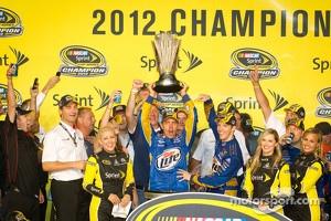 Championship victory lane: 2012 NASCAR Sprint Cup Series champion Brad Keselowski, Penske Racing Dodge celebrates with crew chief Paul Wolfe
