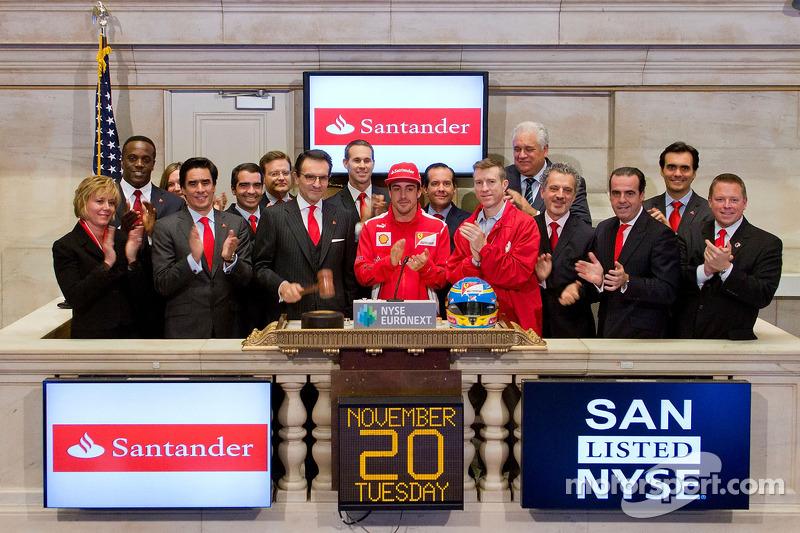 Fernando Alonso, Scuderia Ferrari visits the New York Stock Exchange