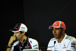 Bruno Senna, Williams en Lewis Hamilton, McLaren in de FIA persconferentie