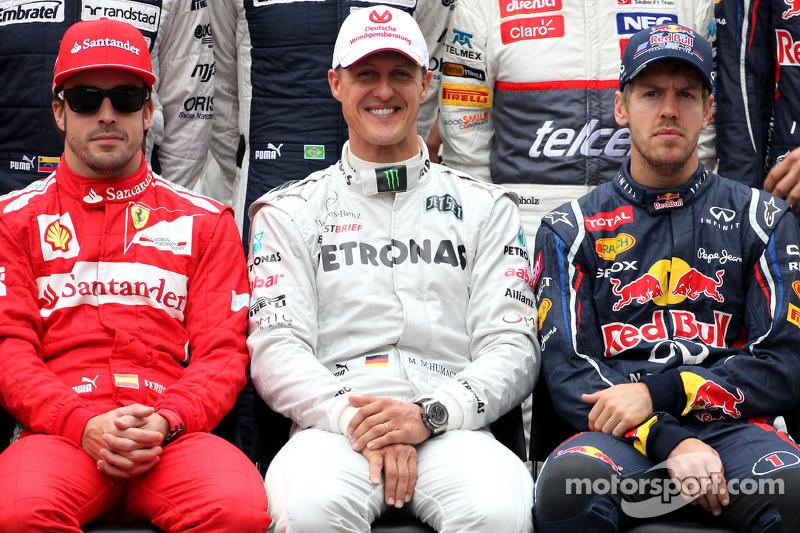 Fernando Alonso, Scuderia Ferrari; Michael Schumacher, Mercedes GP; Sebastian Vettel, Red Bull Racin