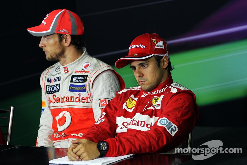 Jenson Button, McLaren and Felipe Massa, Ferrari in the FIA Press Conference