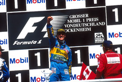 Podium: Race winner Michael Schumacher, Benetton Renault, second placed David Coulthard, Williams Renault