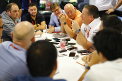 Zak Brown, Executive Director, McLaren Technology Group, talks to a group of journalists