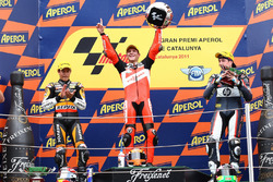 Podium: second place Marc Marquez, Race winner Stefan Bradl, third place Aleix Espargaro