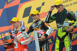 Podium: second place Stefan Bradl, Race winner Marc Marquez, third place Andrea Iannone