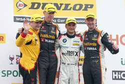 Podium: race winner Colin Turkington, West Surrey Racing BMW 125i M Sport,  Matt Neal, Team Dynamics Honda Civic Type R and Gordon Shedden, Team Dynamics Honda Civic Type R