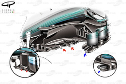 Mercedes W08 new bargeboards, Malaysian GP