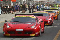 Cars exit the pitlane for qualifying