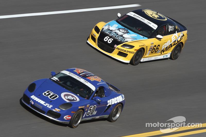 #50 Berg Racing Porsche Boxter: David Quinlan, John Weisberg and #66 Riley Racing Mazda RX-8: A.J. Riley, Jameson Riley