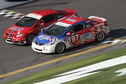 #4 LRT Racing Honda Civic SI: Juan Leroux, Jorge Leroux and #197 RSR Motorsports Honda Civic SI: Corey Fergus, Owen Trinkler