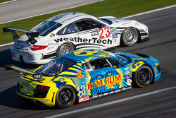#23 Alex Job Racing Porsche GT3: Jeroen Bleekemolen, Damien Faulkner, Marco Holzer, Cooper MacNeil, #13 Audi Sport Rum Bum Racing Audi R8 Grand-Am: Frank Biela, Christopher Haase, Matt Plumb, Markus Winkelhock