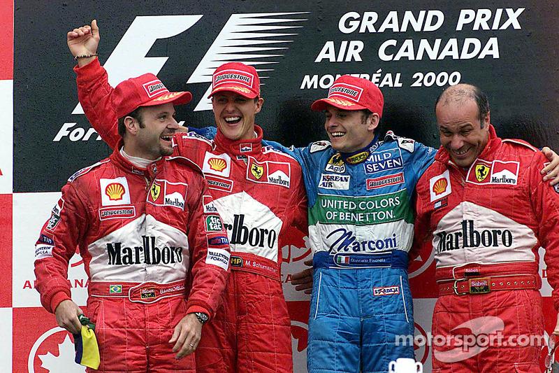 2000 - 1. Michael Schumacher, 2. Rubens Barrichello, 3. Giancarlo Fisichella