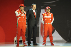Stefano Domenicali, Felipe Massa and Fernando Alonso with the Ferrari F138