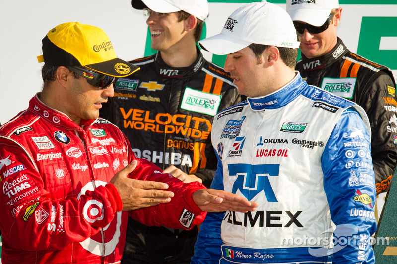 DP podium: overall-winnaars Juan Pablo Montoya en Memo Rojas
