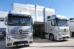 Mercedes AMG F1 trucks in the paddock