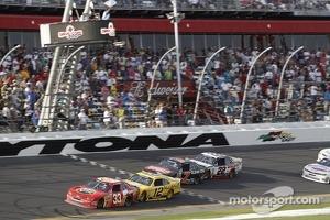 Tony Stewart leads on the final lap