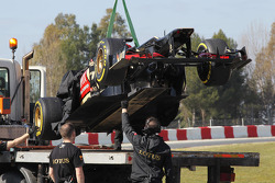 The Lotus F1 E21 of Davide Valsecchi, Lotus F1 E21 Third Driver is recovered back to the pits on the back of a truck