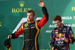 Race winner Kimi Raikkonen, Lotus F1 Team celebrates on the podium