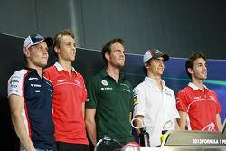FIA Press Conference: Valtteri Bottas, Williams; Max Chilton, Marussia F1 Team; Giedo van der Garde, Caterham F1 Team; Esteban Gutierrez, Sauber; Jules Bianchi, Marussia F1 Team