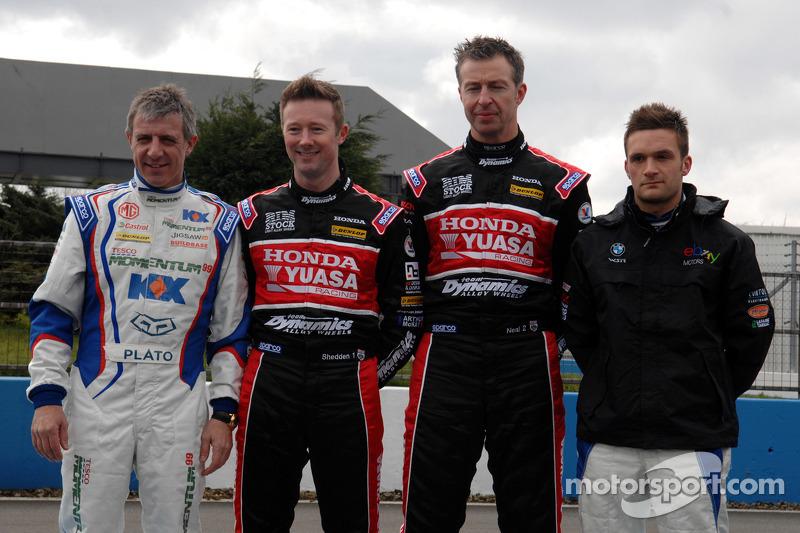 BTCC-kampioenJason Plato, Gordon Shedden, Matt Neal en Colin Turkington