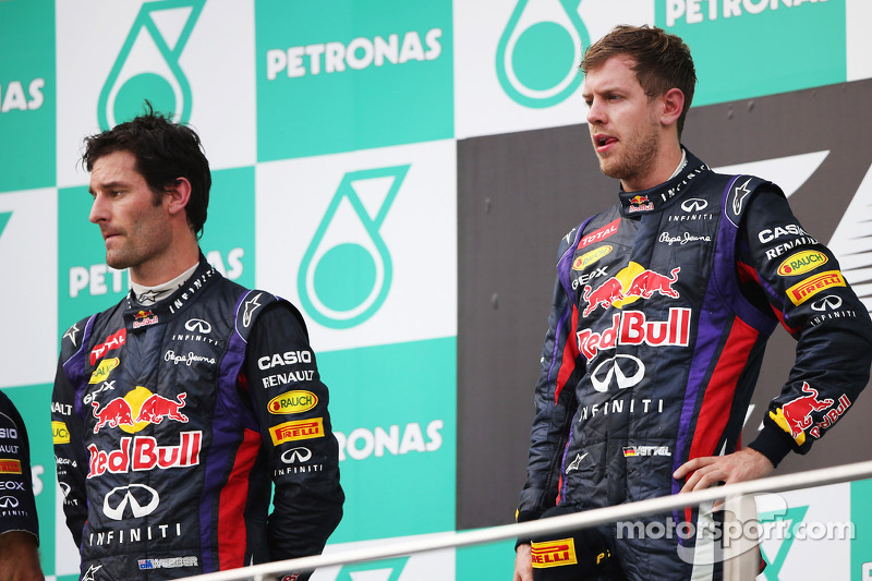 Podium: race winner Sebastian Vettel, Red Bull Racing, second placed Mark Webber, Red Bull Racing