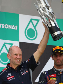 Podium: Adrian Newey, Red Bull Racing Chief Technical Officer and second place Mark Webber, Red Bull Racing