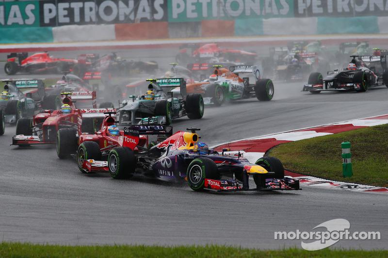 Фернандо Алонсо и Себастьян Феттель. ГП Малайзии, Воскресная гонка.