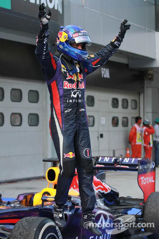 Race winner Sebastian Vettel, Red Bull Racing RB9 celebrates in parc ferme