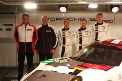 Head of Porsche Motorsport Hartmut Kristen, Olaf Manthey, Jörg Bergmeister, Patrick Pilet and Timo Bernhard with the Porsche 911 RSR