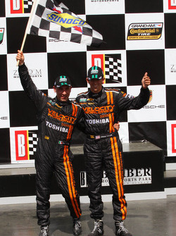 Victory lane: race winners Max Angelelli and Jordan Taylor