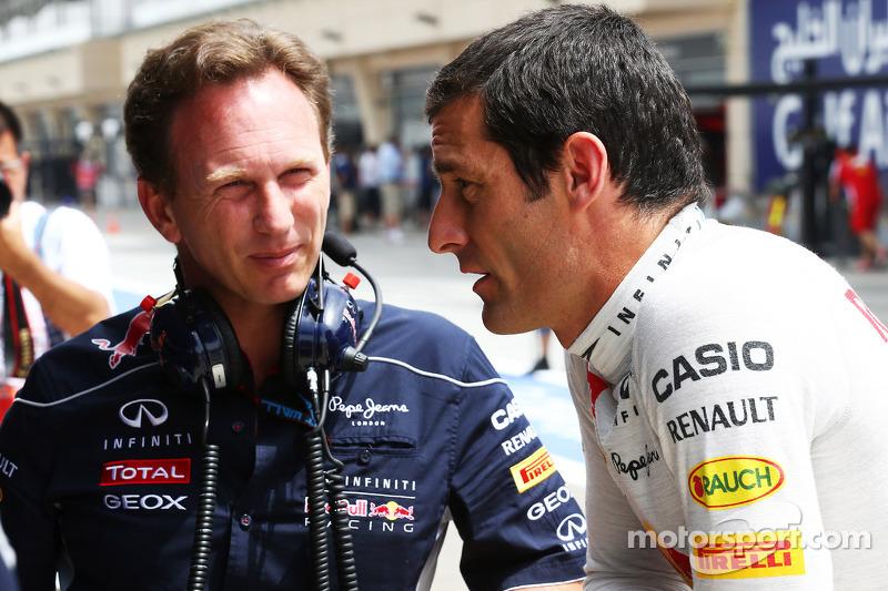 (L naar R): Christian Horner, Teambaas Red Bull Racing met Mark Webber, Red Bull Racing